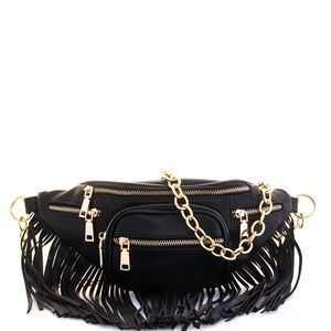 Handbags - BLACK DESIGNER CHIC FRINGE FANNY PACK W/GOLD CHAIN
